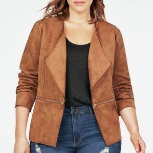 JustFab Faux Suede Open Front Zip Detail Jacket